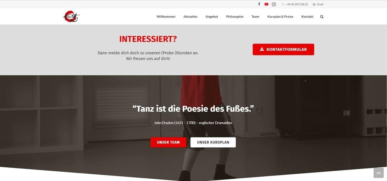 tanzt! Studios Website von textmarka